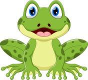 Милый шарж зеленой лягушки иллюстрация вектора