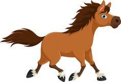 Милый шарж лошади бежать на белой предпосылке Стоковое Фото