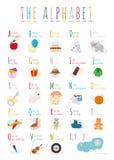 Милый шарж проиллюстрировал алфавит с именами и объектами используемая технология принимать изображений фото света замораживания  Стоковое Фото