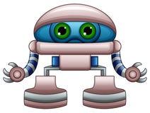 Милый шарж робота при зеленые глаза изолированные на белой предпосылке иллюстрация штока