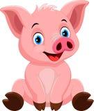 Милый шарж свиньи изолированный на белой предпосылке Стоковые Фотографии RF