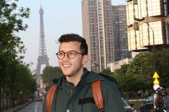 Милый этнический молодой человек в Париже, Франции стоковые фотографии rf