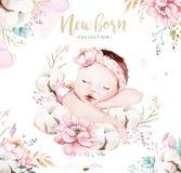 Милый newborn младенец акварели Картина девушки и мальчика иллюстрации ребенка новорожденного Изолированная детским душем картина бесплатная иллюстрация