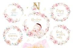 Милый newborn младенец акварели Картина девушки и мальчика иллюстрации ребенка новорожденного Изолированная детским душем картина иллюстрация штока
