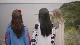 3 милых девушки нося длинное платье моды лета идя на поле на фоне озера или реки видеоматериал