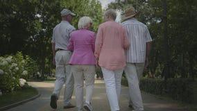 2 милых зрелых пары идя и говоря в парке лета Двойная дата старших пар Дружелюбный отдыхать компании сток-видео