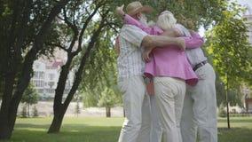 2 милых зрелых пары обнимая и закручивая вокруг в парк совместно стоя в круге Дружелюбный отдыхать компании видеоматериал