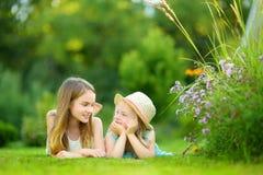 2 милых маленьких сестры имея потеху совместно на траве на солнечный летний день стоковое изображение