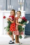 2 милых маленькой девочки с пионами 2 красивых друз имея потеху, обнимать и усмехаться Стоковые Изображения RF