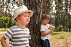 2 милых мальчика в парке около деревьев в солнечном летнем дне стоковые изображения rf