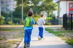 2 милых мальчика, состязаются в самокатах катания, внешних в парке, Стоковое Изображение RF
