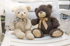 2 милых медведя плюша сидя на белых месте и говорить Стоковые Изображения RF