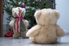 2 милых плюшевого медвежонка рождественской елкой Стоковые Изображения RF