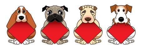4 милых doggies имеют двустишие фестиваля весны формы диаманта пробела в их рте Стоковые Изображения
