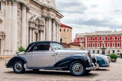 1000 миль 2019, Брешия - Италия 14-ое мая 2019: Исторические автогонки Mille Miglia Выставка исторических винтажных автомобилей в стоковое фото