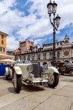 1000 миль 2019, Брешия - Италия 14-ое мая 2019: Исторические автогонки Mille Miglia Выставка исторических винтажных автомобилей н стоковые фотографии rf