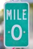 Миля нул подписывает внутри Key West, Флориду Стоковая Фотография RF
