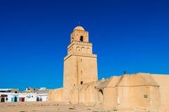 Минарет, большая мечеть Kairouan, Kairouan четверть большинств Священный город мусульманского веры, Тунис стоковые фотографии rf