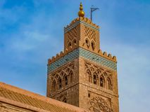 Минарет мечети Koutoubia в Marrakesh Марокко Стоковая Фотография RF
