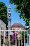 Минарет, мечеть и фиолетовые цветки стоковое изображение rf
