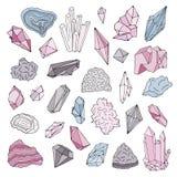 Минералы, кристаллы, самоцветы изолированный комплект иллюстрации вектора цвета нарисованный рукой Стоковые Фотографии RF