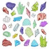 Минералы, кристаллы, самоцветы изолированный комплект иллюстрации вектора цвета нарисованный рукой Стоковая Фотография