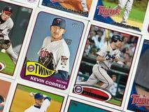 Минесота дублирует карточки торговой операции бейсбола стоковая фотография rf