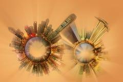 Миниатюрная планета земли с крайне важными зданиями и привлекательностями города Стоковое Изображение