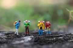 Миниатюрные люди: путешественник идя на дороги создан суматоху с травой Использованный для того чтобы путешествовать к назначения стоковые изображения rf