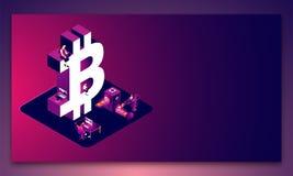 Миниатюрные люди работая вместе со знаком 3d bitcoin на glo иллюстрация вектора