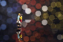 Миниатюрный целовать пар Стоковое Фото