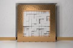 Минимализм, глумится вверх по плакату, интерьеру illutration 3d Золотая рамка в нише в белой заштукатуренной стене заполненной с иллюстрация штока
