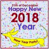 Минималистская партии приглашения поздравительная открытка 2018 Стоковое Изображение RF