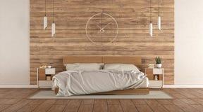 Минималистская спальня хозяев с деревянной двуспальной кроватью иллюстрация вектора