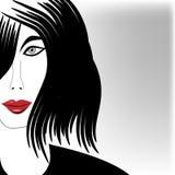 Минималистский портрет девушки с Luscious губами Стоковое Фото