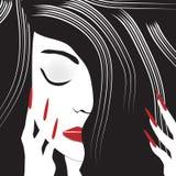 Минималистский портрет Черно-с волосами женщины Стоковые Фото