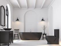 Минимальная ванная комната с черно-белым 3d представляет Стоковые Изображения RF