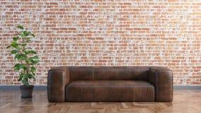 Минимальная живущая комната с кожаным диваном и старой кирпичной стеной и иллюстрацией завода 3D иллюстрация вектора