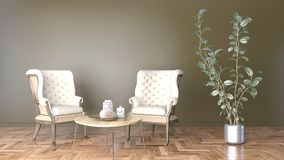 Минимальная живущая комната с черными стеной и стулом 2 и большой иллюстрацией завода 3D иллюстрация вектора