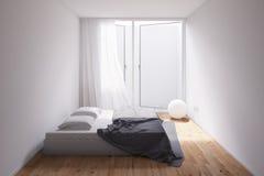 Минимальная комната с гравием снаружи Стоковое Изображение