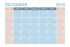 Минимальный дизайн календаря на декабрь 2019 бесплатная иллюстрация