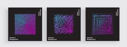 Минимальный дизайн крышки, хаос потоков, абстрактные волнистые линии, современная линия с ультрамодными градиентами Electro музык иллюстрация вектора