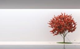 Минимальный сад стиля в современном космосе 3d представляет Стоковая Фотография