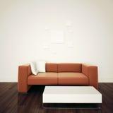 Минимальный самомоднейший нутряной стул для того чтобы смотреть на пустую стену Стоковые Фотографии RF