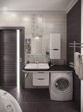 Минималистичный стиль ванной комнаты внутренний, перевод 3D Стоковое Фото
