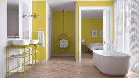 Минималистская белая и желтая скандинавская ванная комната с спальней стоковое фото
