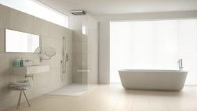 Минималистская ванная комната с ванной и ливнем, полом партера и m стоковые фото
