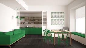 Минималистская кухня и живущая комната с софой, таблицей и стульями, Стоковое Изображение RF