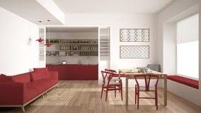 Минималистская кухня и живущая комната с софой, таблицей и стульями, Стоковые Фото