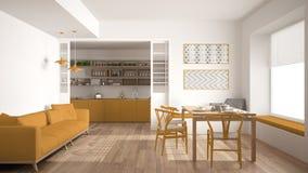 Минималистская кухня и живущая комната с софой, таблицей и стульями, Стоковая Фотография RF